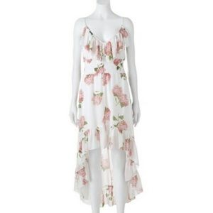 NWOT HeartSoul Floral High Low Maxi Dress White